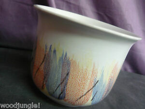 Vintage Planter Deco Mid Century Danish Modern 1970s Germany Blue Yellow Red
