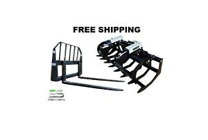 Es 78 Hd Brush Grapple And 48 Pallet Forks Combo Skid Steer Free Shipping