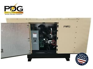 55 Kw Diesel Generator Perkins Enclosed W 65 Gallonfuel Tank Auto Start