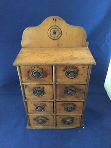 Primitive Antique Hanging Kitchen 8 Drawer Vertical Spice Box Cabinet Chest