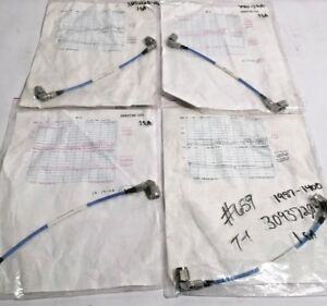 4 New 9 inch Tnc To Tnc Ptfe Test jumper Cables With Individual Test Data