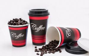 400 Pack 20 Oz Poly Paper Disposable Hot Tea Coffee Cups With Flat White Lids
