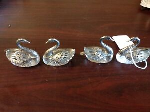 Vintage Silver And Crystal Swan Salt Cellar With Spoon Set Of 4