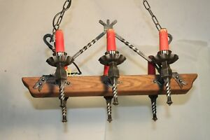 Antique Vintage Castle Chandelier France 6 Light Wrought Iron