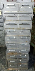 Vtg Industrial Datacase Steelcase Metal Dual Sideed 10 Drawer Card File Cabinet