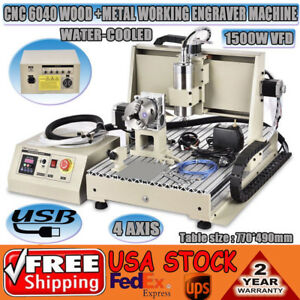 Usb 6040 4 Axis Cnc Engraving Machine Metalworking Drill Mill 1 5kw Spindle