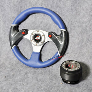 For Honda 320mm Steering Wheel Black Blue 6 Hole Pvc Hub Adapter Jdm Horn