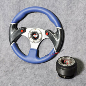 For Golf Gti 320mm Steering Wheel Black Blue 6 hole Pvc Hub Adapter Jdm Horn