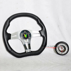 Honda Acura Hub Adapter 350mm Black Pvc Silver Spoke Steering Wheel Horn