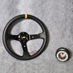 Jdm Horn Black Pvc Yellow Stitch Deep Dish 350mm 14 Steering Wheel Hub Adapter
