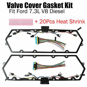 For Ford 7 3l V8 Diesel Valve Cover Gasket W Injector glow Plug Harness Set New