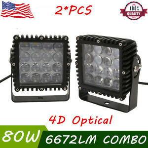 2x 80w 5 Inch Led Work Light Combo Driving Offroad Truck Boat Jeep Suv 4d Lens