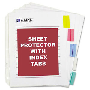 New C line 5 tab Sheet Protectors With Colored Index Tabs 12 Sets