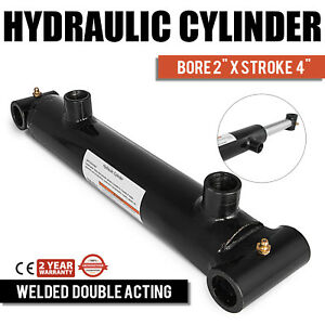 Hydraulic Cylinder Welded Double Acting 2 Bore 4 Stroke Cross Tube End New