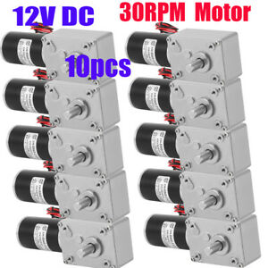 10x 12v Dc High Torque Turbo Worm Geared Motor Electric Power Reversible Nw