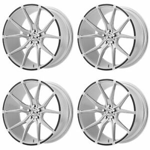 4x Asanti 20x10 5 Abl 13 Vega Wheels Brushed Silver Carbon Fiber 5x120 38mm
