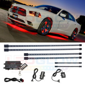 Ledglow 4pc Red Led Underglow Car Led Neon Lights W 2pc Interior Underdash Tubes
