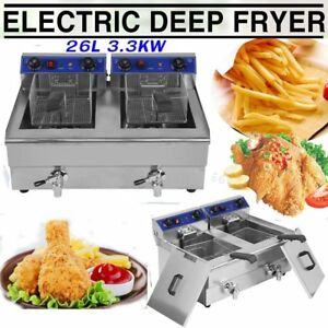 Electric Countertop Deep Fryer Dual Tank Commercial Restaurant Steel W Nozzle Y