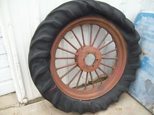 Vintage F H Rear Spoked Tractor Wheel Old Tire Mccormick International