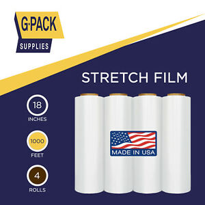 Stretch Wrap Film 18in X 1000ft 85g Shrink Wrap Plastic Pallet Furniture 4rolls