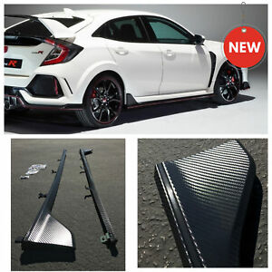 Type R Caron Fiber Style Side Skirt Plastic Extension For 2016 Honda Civic Fk8