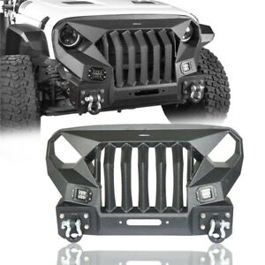 Mad Max Grill Stubby Front Bumper For Jeep Wrangler Jk 2007 2018 W Spotlight