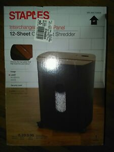 Staples 12 sheet Cross cut Shredder With 3 Woodtone Tops Black Spl nxc12wda New