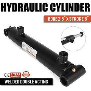 Hydraulic Cylinder 2 5 Bore 8 Stroke Double Acting Equipment Black Steel