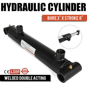 Hydraulic Cylinder Welded Double Acting 3 Bore 8 Stroke Cross Tube New