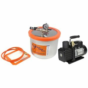 Bvv 3 Gallon Stainless Steel Wide Vacuum Chamber And Ve225 4cfm 2 stage Pump Kit