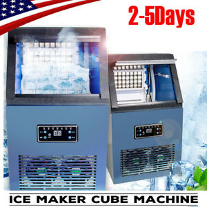 Portable Auto Commercial Ice Maker Cube Machine 50kg Stainless Steel Bar