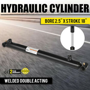 Hydraulic Cylinder Welded Double Acting 2 5 Bore 18 Stroke Cross Tube New
