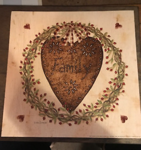 Punch Metal Look Heart Family Berry Vine Border Inspirational Decor Wood Sign
