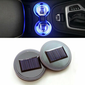 2 Solar Power Led Cup Holder Bottom Pad Car Suv Atmosphere Trim Lamp Cover Mat