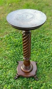 Antique Early 1900 S Quartersawn Oak Barley Twist Pedestal Plant Fern Stand