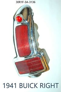 1941 Buick Red Plastic Lens Tail Stop Light Cover Original Old Antique Right