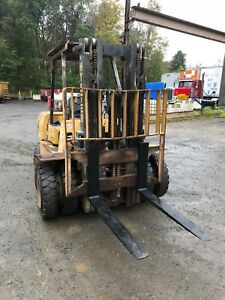 revised Hyster H80xl 8000lb Propane Forklift Dual Tires New Forks 3 Stage Mast
