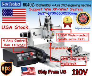 usa Cnc 6040 1500w 4 Axis Engraver 3d Wood Cutting Milling Router Machine 110v