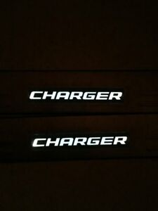 White Led Light Stainless Door Sill Guard Plate For Dodge Charger 2008 2015 4pcs