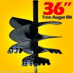 Skid Steer Tree Auger Bit 36 Width X 4 13 Teeth Fits All Round Auger Drives