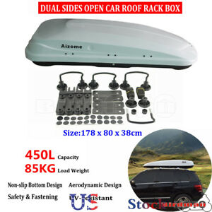 Car Roof Top Rack Carrier Box Pod 45l Dual Sides Open Cargo Storage Luggage Us