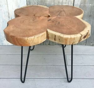 Vintage Wood Slab Coffee Table W Mcm Industrial Wrought Iron Hairpin Legs