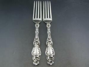 2 Sterling Gorham 7 5 8 Dinner Size Forks Lily Same As Whiting Lily No Mono