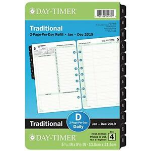 Day timer 2019 Daily Planner Refill 5 1 2 X 8 1 2 Desk Size 4 2day Ship