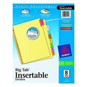 Avery Worksaver Big Tab Paper Dividers Index bndr 11x8 5 8clrd 14305 pack