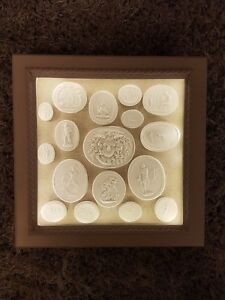 17 Grand Tour Cameos Intaglios Gems Medallions Tassie Seals In Display Cabinet