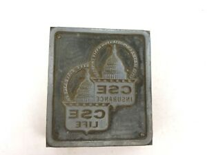 Vintage Letterpress Print Block Wood Metal Civil Service Employees Insurance Cse