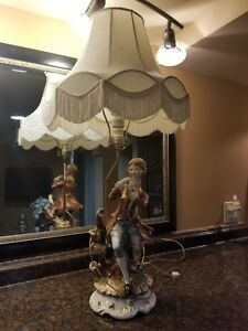 Antique Italian Porcelain Figure Figural Lamp