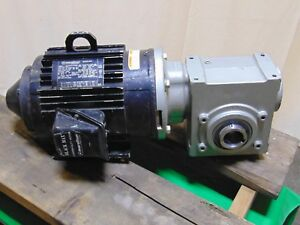 Marathon 3 Hp Electric Motor And Gearbox Speed Reducer 15 16 Tigear2