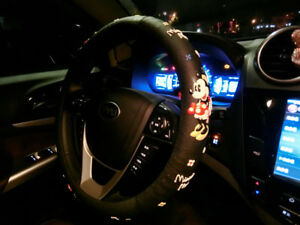 Black Mickey Mouse Steering Wheel Cover Car Interior Accessories Styling Girls